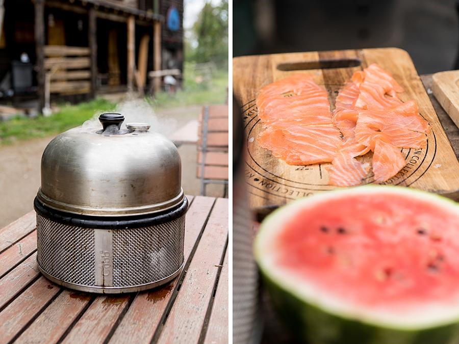 Lachs, Melone, Grill
